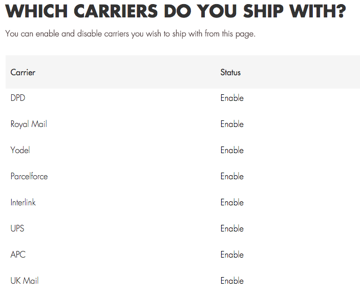 shiptheory select carriers