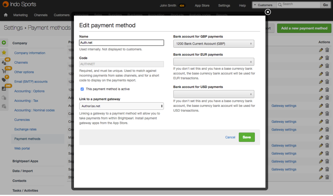 Auth net payment method